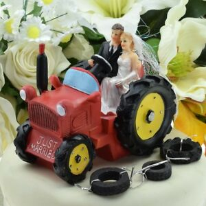 Bride & Groom 'Just Married' Red Tractor Wedding Cake Topper