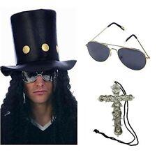 Slash Heavy Metal Rocker Sombrero con peluca, gafas de sol Vestido Elegante Collar De Cruz