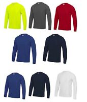 3 Or 5 Pack AWDis Men's Cool Long Sleeve Wicking T-Shirt Crew Neck Plain Tee New