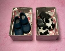 Lot (2) 2000 Hasbro SHOEZIES + Boxes *  COW CLOGS * BLUE MARY JANES * So Cute!