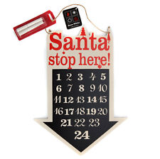 Christmas Board Advent Calendar with Chalk Countdown Wooden Santa with Chalk