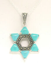 """Marcasite Sterling Silver 18"""" Trillion Blue Turquoise Star of David Pendant"""