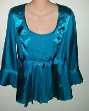 Beautiful Grace Hill Teal 3/4 Sleeved Silk Satin Blouse Size 10 Approx