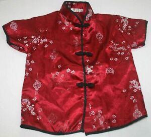 Lanna Pine Thai Silk Shirt Youth Small Japanese Dragon Kimono Top Blouse Costume