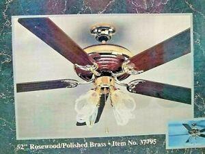 "Harbor Breeze Platinum Series 52"" Rosewood & Brass Ceiling Fan w/ Light Kit"