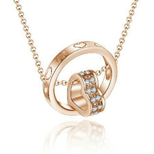 Classic ring with heart pendant Womens long chain necklace set rose gold filled