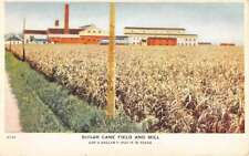 Texas Centennial Sugar Cane Field Mill Street View Antique Postcard K100355