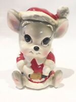 Vintage MCM mid century RETRO Christmas CERAMIC PLANTER Mouse Santa Japan