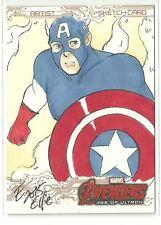 Upper Deck Avengers Age Of Ultron Captain America Color Sketch - Elfie Lebouleux
