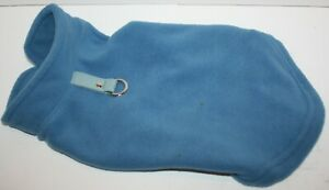 Gooby Fleece Vest Pullover Jacket Sweater w/Leash Ring SMALL BREED Blue M or L
