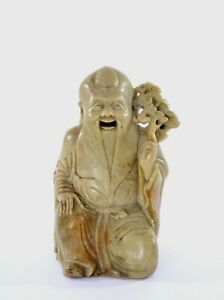 1930's Chinese Soapstone Carved Carving Shoulo Immortal Figure Figurine Hollow