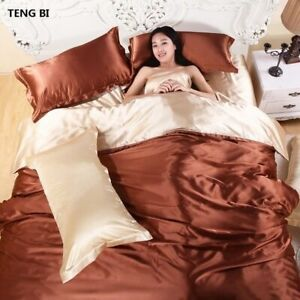 Pure Satin 100% Silk bedding Set,Home Textile King Size Bed Soft Fabric