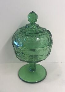"""Westmoreland Mould Made By Fenton For LG Wright  Green Candy Dish W/ Lid -6 1/2"""""""