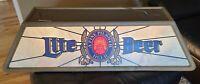 """VINTAGE 1986 Miller Lite Beer Pool Table Light CLEAN Hanging Bar Sign 47"""" TESTED"""