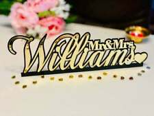 Personalized Mr & Mrs Wedding Surname Sign Custom Sweetheart Table Top Last Name