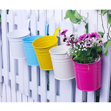 Pack 10 Flower Pot Balcony Garden Wall Fence Hanging Plant Planter Decor