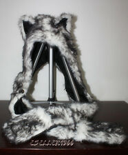 Wolf Full Animal Hood Hoodie Hat w/ Scarfs & Mitten Faux Fur 3 in 1 Function US