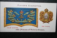 18th (Princess of Wales's) Hussars 1907 Vintage Insignia Card # Vgc