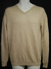 BLOOMINGDALE'S Men's 100% Cashmere Sand V-Neck Sweater S $198 NWT FREE SHIPPING