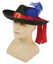 Felt Medieval Musketeer Cavalier Blue Feather Hat Fancy Dress Adult NEW P6610