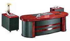 Senato - DES-6836 Curvy 3 Piece Executive Office Desk Set in Burr Walnut Finish