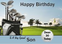 personalised birthday card GOLF any name/age/relation