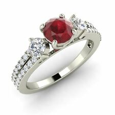 Certified 0.99 Ct Natural Ruby & SI Diamond Platinum Three Stone Engagement Ring