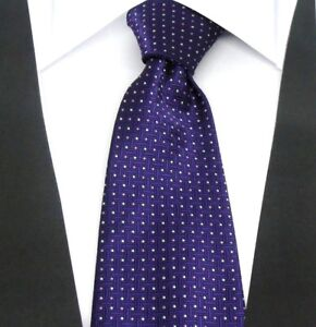 Designer Hand Woven 100% Pure Silk Tie Purple with Small pink & White Dots