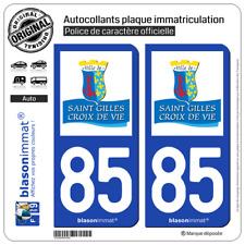 2 Autocollants de plaques auto | 85 Saint-Gilles-Croix-de-Vie - Commune | 85800