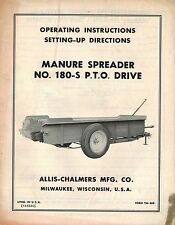 ALLIS CHALMERS 180S  MANURE  SPREADER  OPERATOR'S MANUAL