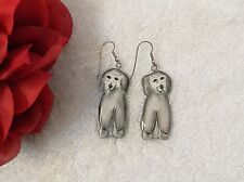 Classic Earrings Dog Puppy Pet Canine Tail Poodle Gray White Hand Painted We1