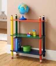 Kids Pencil Bookcase Book Shelf Shelves Solid Wood CD DVD Children Game Storage