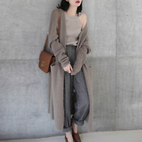 Womens Wool Blend Knitted Long Cardigan Outwear Casual Sweater Jumpers Overcoat