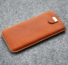iPhone 8, 7, 6/6s cover genuine brown leather case lined sleeve with pull band
