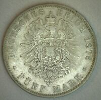 1876 J German States HAMBURG 5 Mark Silver Coin Circulated Germany
