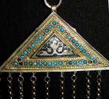 Antique Uzbek Bukhara Silver Gilded Triangular Amulet