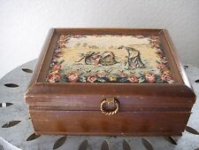 Antique Wooden Jewelry BOX w NEEDLEPOINT Mid Century Vintage Trinket Chest Japan