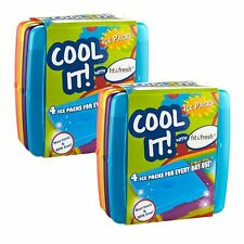 Fit & Fresh Cool Coolers Slim Lunch Ice Packs, Multicolored (Set of 8)