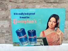 Vintage Crompton Greaves Dry Leak Proof Batteries Metal Sign Board 1970s