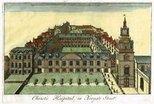 "Overton's ""CHRIST'S HOSPITAL IN NEWGATE STREET"" - Hand-Colored Engraving - c1740"