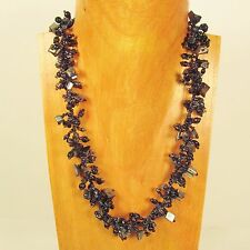 "22"" Black Hematite Stone Shell Chip Handmade Seed Bead Necklace FREE SHIPPING!!"