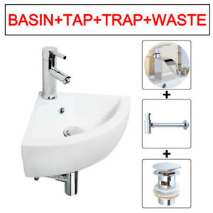 Corner Basin Mini Wall Hung Sink Hand Wash Basin & Waste & Tap For Cloakroom WC