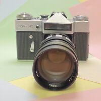 Vintage Zenit E 35mm SLR Film Camera W/ 135mm F2.8 Portrait Lens, Retro Lomo