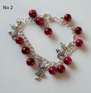 Gorgeous ruby red coloured glass bead & chain, cat themed bracelet, NEW (no 2)