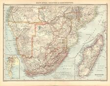 1907  LARGE ANTIQUE MAP - SOUTH AFRICA : INDUSTRIES & COMMUNICATIONS