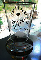 "Vintage Clear Glass Crystal Vase Art Glass Etched Design & Gold Accents 11"" Tall"