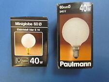 RAREZA Paulmann Globe E14 40W G60 240V CRISTAL DE HIELO Globelampe CLARO