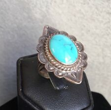 Native American Ring Sz 8 Sterling Stamped Turquoise Pawn Signed Oscar Alexius