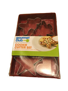 Gourmet Club Cookie Cutter Set - 6 Shapes Star Heart Flower X-mas Tree Candy