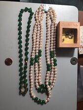 Old Antique Necklaces From Estate Green Jade Beads Pearls Necklaces No Minimums